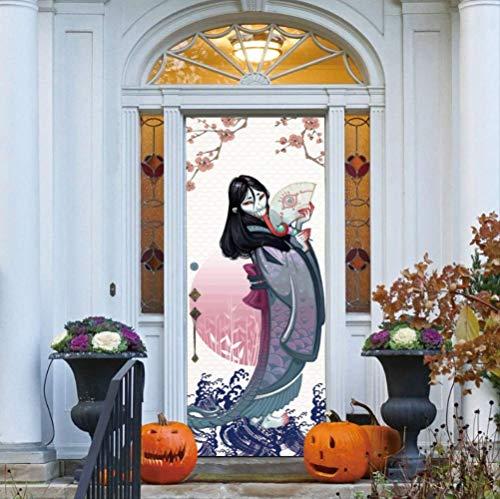 JHSM Türtapete Selbstklebend Tür Aufkleber Japanische Geister Scary Zarte Blumenmuster Wand Carecrow Aufkleber Wand Tür Aufkleber Party Halloween Dekoration