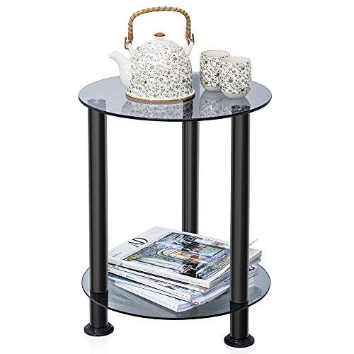 Fitueyes vetro temperato tavolino da salotto tavolino da caffè grigio dt203801gt