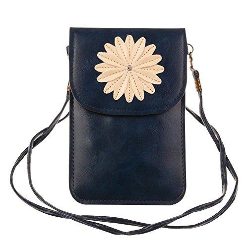 Contever® Retro Chrysantheme-Muster Handy-Beutel Tasche mit Berührungssensitiver Bildschirm für Telefon Unter 6 Zoll PU Leder Schultertasche / Umhängetasche Damen -- Schwarz