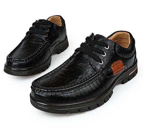 Homme Adulte Automne Lace-Up Moyen Age Imperméable Chaud Bureau Fond Souple Derby Chaussures Black