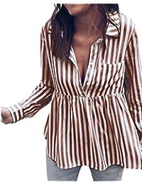Longra Donna Camicia a Maniche Lunghe a Righe con Tasche Donna Camicetta  Blusa Elegante Camicia Scollo a V Profonda Donna Chic Tuta… df1b4eb1b21