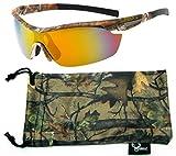 Hornz Brown Camuflaje del Bosque polarizados Gafas de Sol para los Hombres del Abrigo Alrededor del Marco de Deporte y Que Coinciden con Bolsa de Microfibra - Marco de Marrón Camo - Lente Naranja