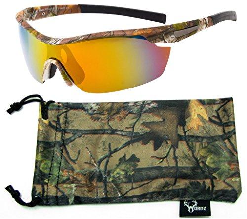 Hornz Forrest braun Camouflage polarisierten Sonnenbrillen für Männer um Sport Rahmen & freie passende Beutel aus Mikrofaser - Braun Camo Rahmen - Orange Linse