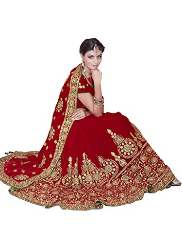 SOURBH Women's Faux Georgette Heavy Hand Work Embroidery Bridal/Wedding Wear Saree (2383_Red)