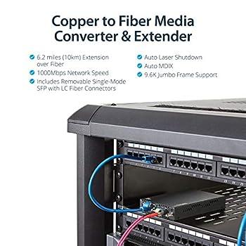 StarTech.com ET91000SM10 Singlemode (SM) LC Fibre Media Converter for 1Gbe Network, 10 km, Gigabit Ethernet, 1310nm with SFP Transceiver