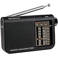 Retekess V-117 Radio FM AM SW Radio Portble Batterie Transistor Radio de Poche Urgence avec Grande Molette (Noir)