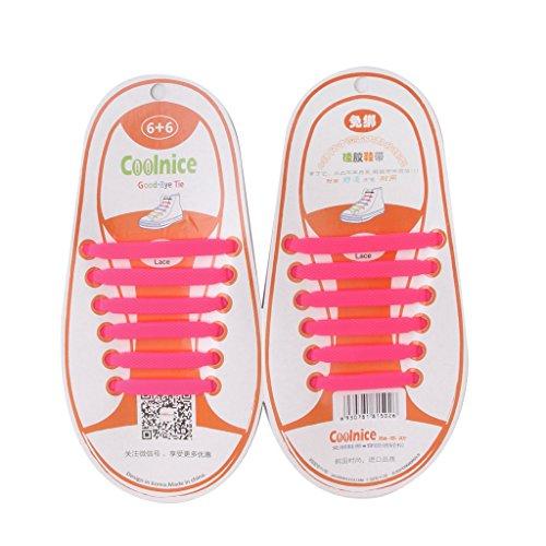 Prettyia Elastische Silikon Schnürsenkel Gummi Schnürbänder Schnellverschluss Ersatz Wasserdicht Schuhband - Rosa