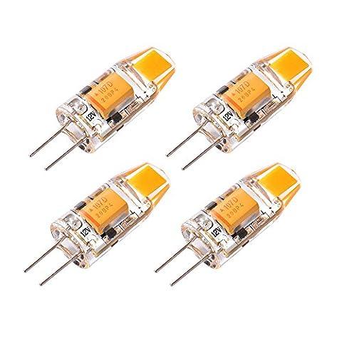 Sunix® 1.5W G4 COB LED-Birnen, 15W Halogenbirnen Equivalent, 110lm, dimmbar, warmes Weiß, 3000K, 360 Grad Abstrahlwinkel, Kristall Scheinwerfer-Birne, Packung mit 4 Stück