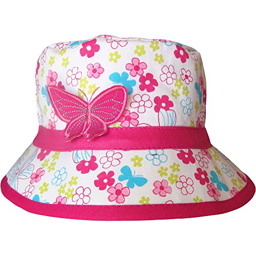 Girls Floral Flowers & Butterfly Bucket Style Summer Sun Beach Hat