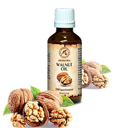 Walnussöl 100% naturreines und reines 50 ml, Walnußöl - Juglans Regia Seed Oil, Glasflasche, Basisöl, USA, Walnuss Öl kaltgepresst und raffiniert, Walnuss Süß reich an Omega 3, intensive Pflege für Gesicht, Körper, Haare, Haut, Nägel, Hände, Anti-Falten /Anti-Aging, rein verwendet, gut mit ätherischem Öl / für Schönheit / Beauty /Aromatherapie / Entspannung / Massage / Wellness / Kosmetik / Körperpflege / Entspannung / unverdünntes / Alternative Medizin von AROMATIKA (Anti-ausschlag-creme)
