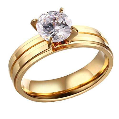 Pauro Frauen 316l Edelstahl Titanium Gold Vier Prong Band Rim mit Zirkonia Ring für Hochzeit Größe 60 Gold Rim Band