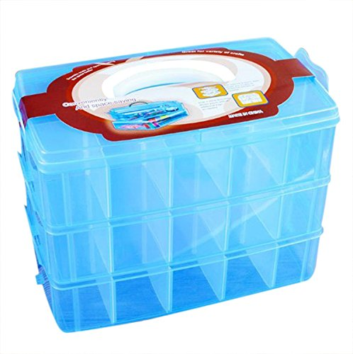 RKPM 3-Layer Transparent Plastic Organizer Storage Box/Basket/Container With Collapsible And Removable Dividers(31 X 19 X 24Cm)(Blue)