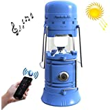HITSAN BPSL 1688 5W Vibration Membrane Bluetooth Speaker Tent Lamp, Multi-functional Portable Outdoor Hiking Camping LED Flashlight With Solar Charging Board, Support FM Radio & TF Card & USB & Power Bank Function, Connection Distance: 10m(Blu
