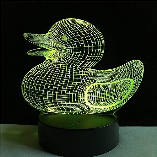 orangeww Tier Gelbe Ente / 3d Usb Led Licht/Kreative Kinderspielzeug / 7 Farben Ändern Nachtlicht/Baby Badezimmer Dekor/Touch-Fernbedienung -