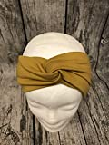 Knotenstirnband, Haarband, Turbanband, Sommersweat senfgelb, Ocker 54-56cm