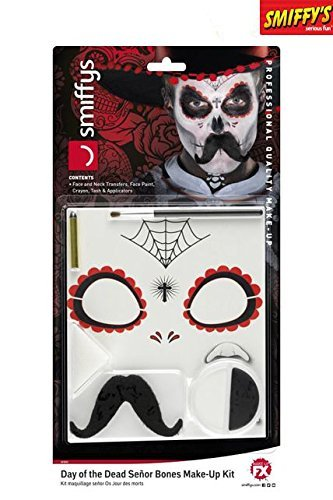 Smiffys, Herren Tag der Toten Senor Bones Make-Up Set, Gesichtsfarbe, Stift, Schnurrbart und Applikatoren, Schwarz und Weiß, (Der Halloween Herren Kostüme Tag Toten)