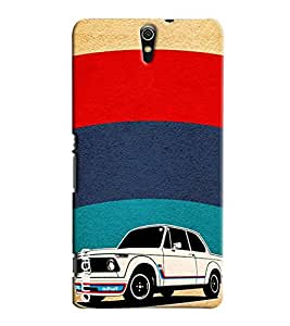 Omnam Painted Car In Stripes Printed Designer Back Cover Case For Sony Xperia C5