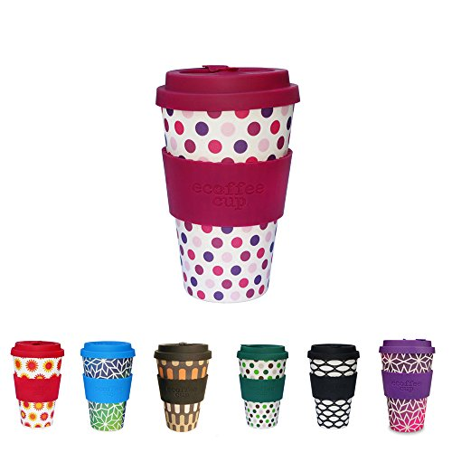 BIOZOYG Belle Tasse d'eCoffee I Tasse en Bambou à emporter avec Couverture et Manchon en Silicone, Lavable sans BPA I Café Eco à emporter Pink Polka 400 ML