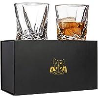 Juego de 2 vasos de whisky de diseño retorcido Vasos de cristal sin plomo (295