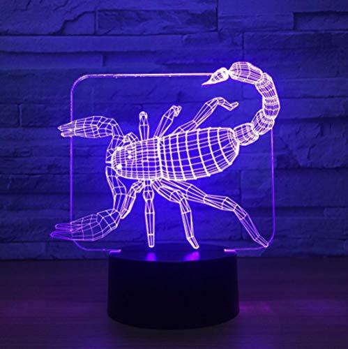 Nachtlicht 3d, Nachtlampe Led, Schlaflicht, Scorpion Tischlampe Touch 7 Farben Illusion Usb Schlafzimmer Dekor für Mädchen und Jungen Geburtstag Weihnachten Halloween Beste Geschenke