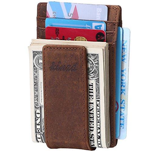 kinzd Herren Slim Super Starker Magnet Geld Clip Leder Brieftasche RFID Crazy Horse Leater Y Style