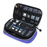BAGSMART Zubehör Organizer Handliche Elektronik Tasche Reise Doppelte Fächer für 2,5 Zoll Festplatte Powerbank Kabel Akkus USB Sticks, Blau