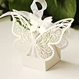 50pcs Laser Cut Butterfly Wedding Favour Box Birthday Party Gifts Candy Boxes Bomboniere by WayGo