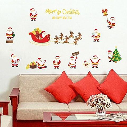 SOMESUN Père Noël Joyeux Noël Décoration murale Autocollants muraux amovibles