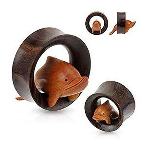 Piercing tunnel dauphin en bois organique Taille 25 mm