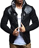 LEIF NELSON Herren Strick-Jacke mit Reißverschluss | Casual Strick-Hoodie Lang Slim Fit | Moderner Männer Strick-Cardigan Langarm Kleidung Männer