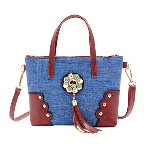 f60c7817b034 LILIGOD Quaste Einkaufstasche Handtasche Party-Tasche Denim Paket Frauen Messenger  Bag Women Canvas Tassel Hit