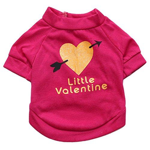 dung, Little Valentine Bedrucktes T-Shirt Kleine Hunde Sommer Weste Kostüm Cute Puppy Kleidung Apparel für Frühling Herbst, S, Rosarot ()