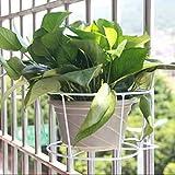 """Kofun porta-vaso in ferro, da appendere alla ringhiera del balcone, vaso da fiori rotondo, per ringhiera e recinzione esterna, Ferro, White, 13x14cm/5.12x5.51"""""""