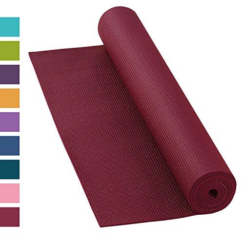 Yogamatte ASANA MAT, rutschfest, 183 x 60cm, 4mm PVC, gute Yoga-Matte nicht nur für Anfänger, Sticky Mat, Gymnastikmatte, phtalatfrei, schadstofffrei (bordeaux-rot)
