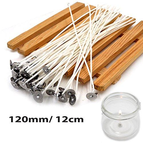 JJOnlinestorePabilos para hacer velas, pre encerados, con núcleo de algodón, color blanco, con soporte, Blanco, 12cm/4.7'inches