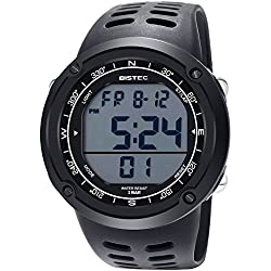 BISTEC Mens LED Digital Display Watch Multifunctional Outdoor Sports with Metal Case Black Band