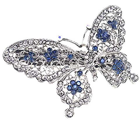 SaySure - Butterfly Hairpin Blue Crystal Headwear Barrette Hair Clip