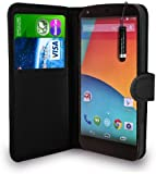 GBOS® LG Google Nexus 5 Black Leather Wallet Flip Case Cover Pouch + Free Screen Protector & Mini Touch Stylus Pen + Polishing Cloth