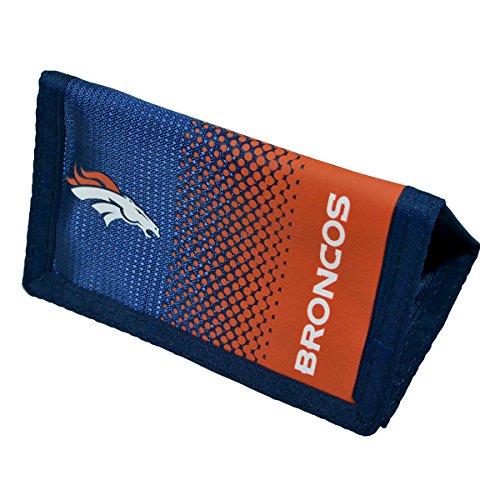 Offizielle NFL American Football Nylon Geldbörse mit Reißverschluss (verschiedene Mannschaften zur Auswahl.), Denver Broncos, Tri-Fold Wallet Broncos Football Cards