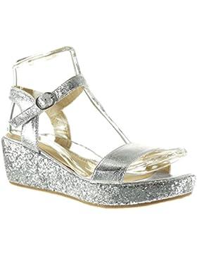 Angkorly - damen Schuhe Sandalen Mule - Plateauschuhe - String Tanga - glitzer - glänzende Keilabsatz high heel...