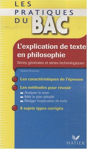 L'explication de texte en philosophie
