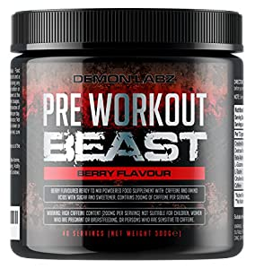 Pre Workout Beast (Berry Flavour) - 40 Servings (300 Grams) - Hardcore pre-Workout Supplement with Creatine, Caffeine, Beta-Alanine and Glutamine