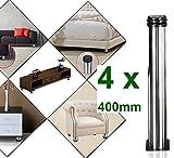Qrity Lot de 4 Pieds de meubles, réglables Pied pieds de meubles - Chrome Métal - Hauteur réglable (Total: 400-415mm)