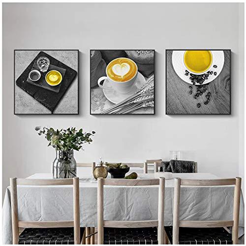 HANSHUIHONG Druck auf leinwand Gelb Kaffeetasse Nordic Leinwand Malerei Druck Wandkunst Süße Wohnkultur Moderne Poster Wohnzimmer Bild Kunstdekor Malerei-40x40 cm Kein Rahmen