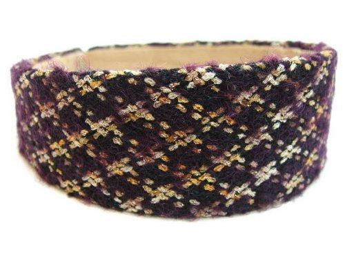 rougecaramel - accessoires cheveux - Serre tête/headband large laine matelassé - violet