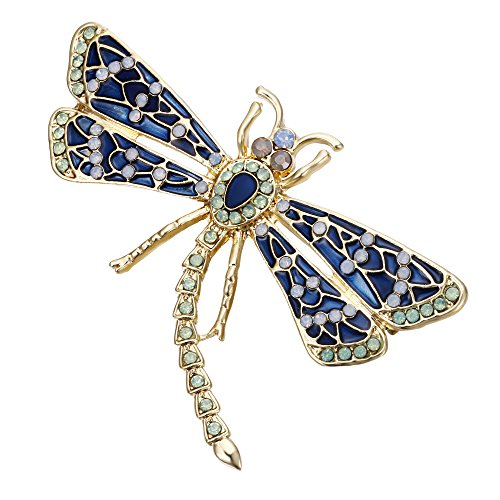 (Ever Faith Damen-Kristall Emaille Party Elegante Flying Insekten Libelle Brosche Blau W/Grün Goldfarbene)