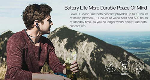 Syl Plus Level U Bluetooth Wireless Earphones 4.1 with Mic in-Ear Stereo Sport Neckband Headsets with Back Button for All Andriod & iOS Smartphones Image 6