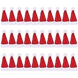 Gosear 30pz Carino Mini Rosso Santa Cappello Natale Decorazione per Natale Lollipop Artigianato Arti Impostare