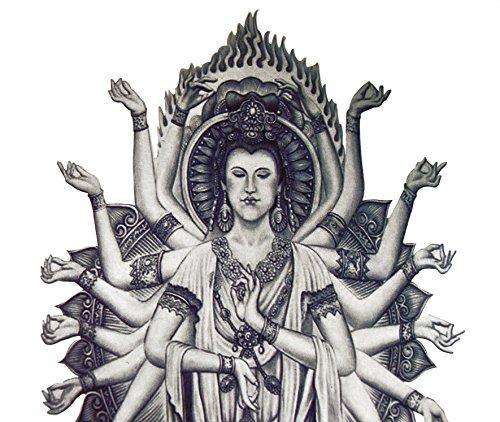 Temporäres Arm Fake Shiva Tattoo für Herren und Frauen mit Motiv | Entfernbare Klebe Henna Tattoos Festival Abzieh-Tattoo Folie | Künstlich Schwarze Körperkunst Aufkleber Arm Sleeve Temporary (Toter Piraten Kostüm Make Up)
