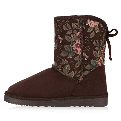 Damen Schuhe Schlupfstiefel Warm gefüttert Dunkelbraun Muster